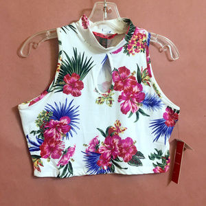 Hawaiian Floral Cropped Thank Top - NWT
